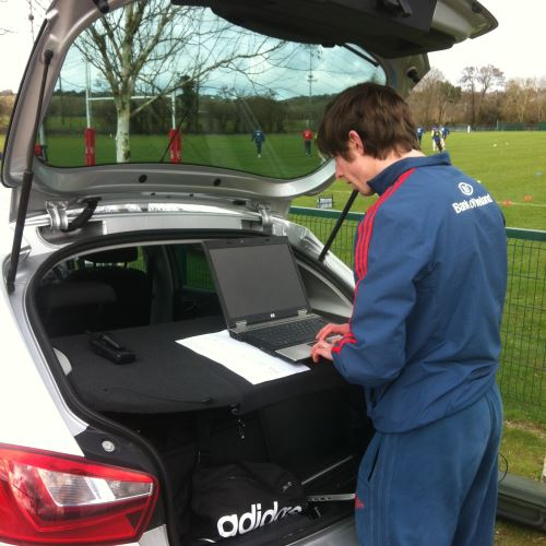 Munster Sports Scientist Will Douglas monitoring the players' GPS outputs